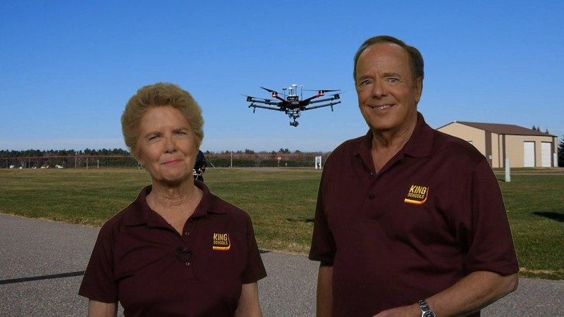 John and Martha King are the instructors in the King Schools drone course version 2.0.  The course prepares customers to pass the FAA  Unmanned Aircraft Systems Knowledge Test.