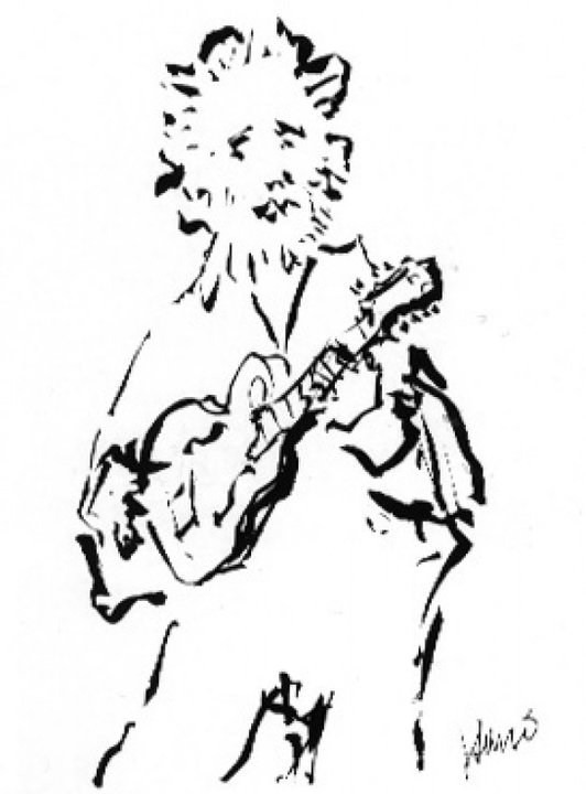 Mandolin Player, Pen and Ink, Artist: Jerry Garcia