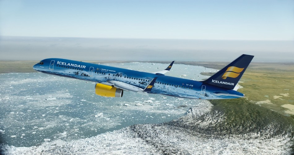 Icelandair's new livery, Vatnajokull, takes a celebratory flight over the largest glacial mass in Europe, which inspired it. The plane joins the airline's transatlantic fleet. Find out more Icelandair.com (PRNewsfoto/Icelandair)