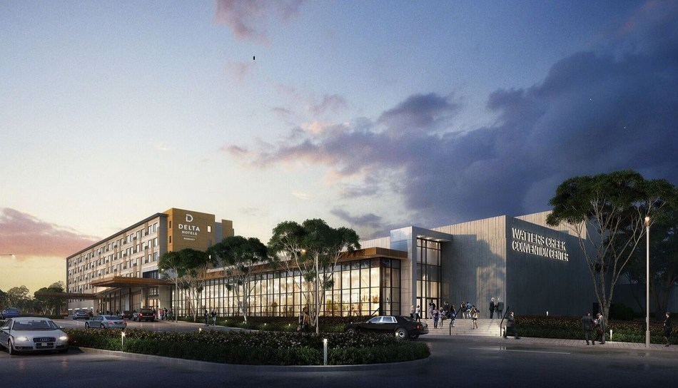 Rendering of new Delta by Marriott Hotel and Watters Creek Convention Center in Allen, Texas