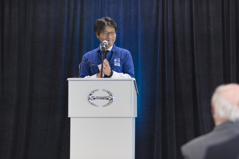 Takashi Ono, President of Hino Motors Manufacturing addresses attendees at the Tacoma Axle Ceremony