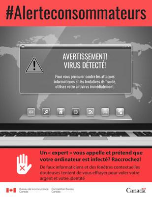 Un « expert » vous appelle et prétend que votre ordinateur est infecté? Raccrochez! (Groupe CNW/Bureau de la concurrence)