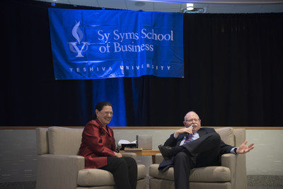 Marcy Syms and 2017 Sy Syms Humanitarian Award recipient Michael Steinhardt at the annual Sy Syms School of Business Awards Gala Dinner at Citi Field