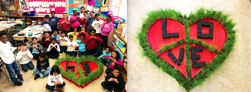 """Health and Nutrition Winner – PS 135Q The Bellaire School (Queens Village, New York) -- """"Love Grows with Peace"""" garden"""
