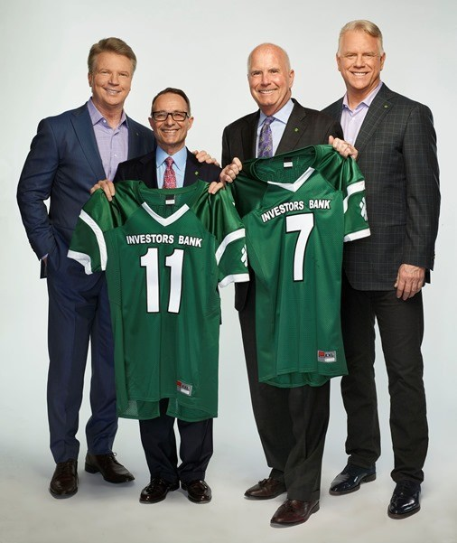 """With Investors you can bank with the """"Experts in the Field"""". Flanked by former NFL quarterbacks, broadcasters and philanthropists Phil Simms (far left) and Boomer Esiason (far right) are Investors Bank Chief Operating Officer Domenick Cama and Chief Executive Officer Kevin Cummings."""