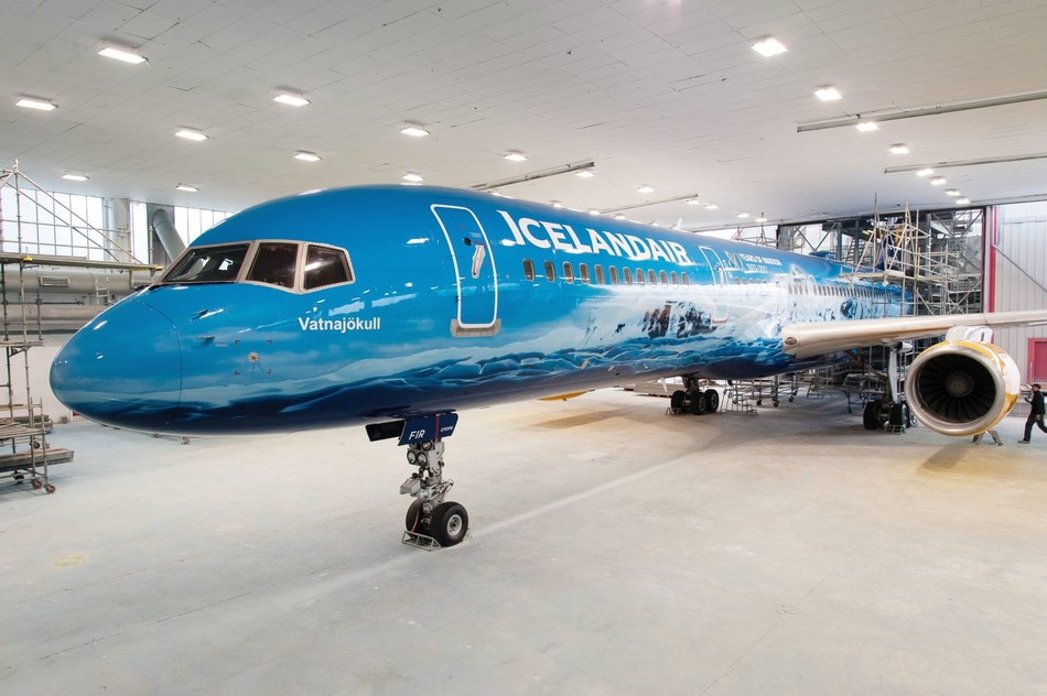 An Icelandair Boeing 757-200 is given a new livery depicting the largest glacial mass in Europe, Vatnajokull glacier in Iceland. The plane joins the airline's transatlantic fleet. Find out more Icelandair.com (PRNewsfoto/Icelandair)