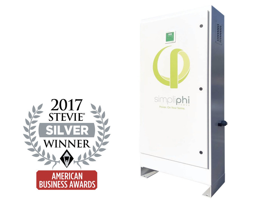 The Silver Energy Innovation Award for the AccESS is SimpliPhi's second consecutive Stevie Award, with its High-Output Battery being named a 2016 Gold winner in the same category. (PRNewsfoto/SimpliPhi Power)