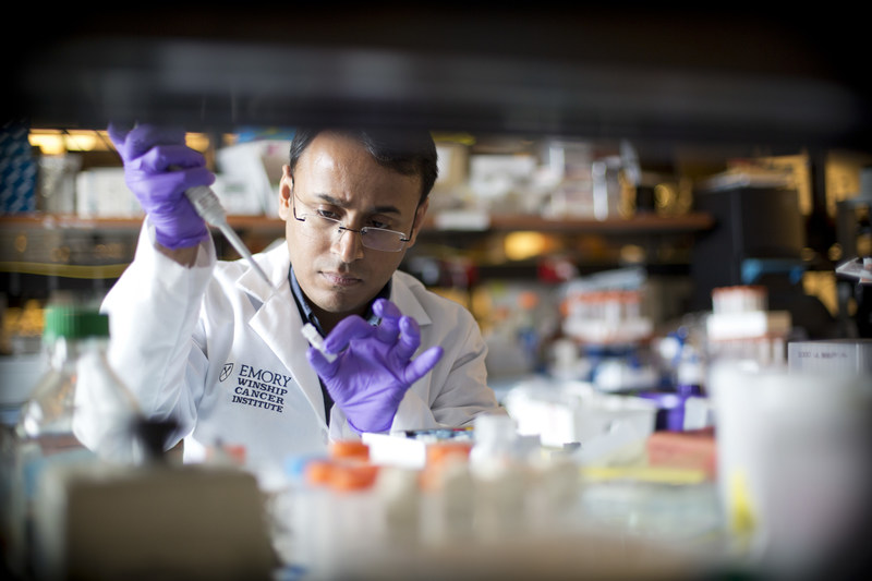Scientific discovery is at the heart of Winship Cancer Institute's new National Cancer Institute Comprehensive Cancer Center designation. Pictured: Winship postdoctoral fellow Subhas Mukherjee, PhD.