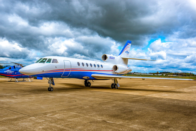 Life Flight Network's Falcon 50 preparing for a long distance transport.