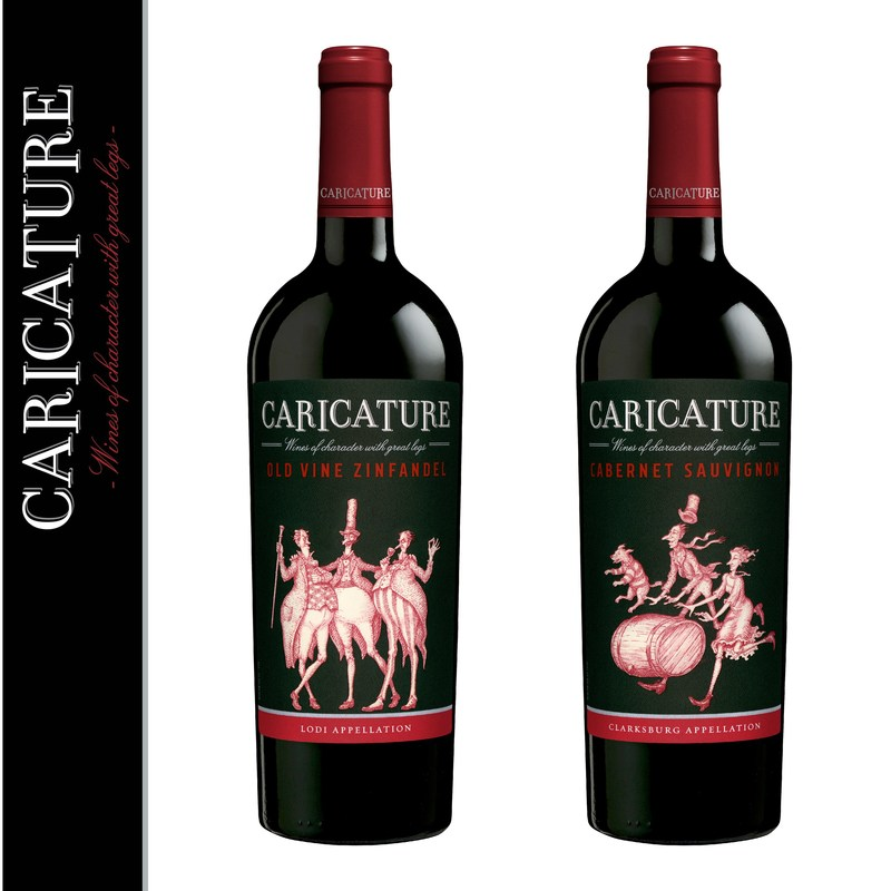 Caricature's 2014 Old Vine Zinfandel and 2014 Cabernet Sauvignon featuring the brand's new black label. Both wines will be available for purchase in May 2017.