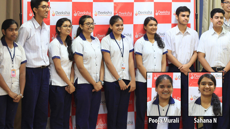 Striking a pose: Deekshaites strike a pose to the media, before commencing their celebration. Inset: Shana N (3rd Topper Science), Pooja Murali (3rd Topper Commerce) (PRNewsfoto/Authors Hub)