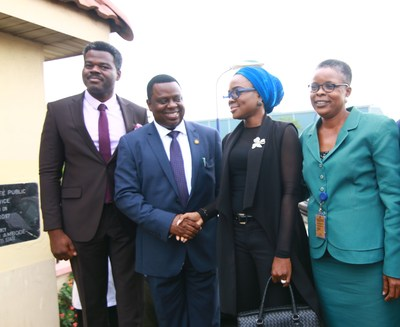 L-R: Mr. Ifeloju Alakija, Head, Regulatory Services, MainOne; Mr. Femi Odubiyi, Honourable Commissioner of Ministry of Science and Technology; Ms. Funmike Olayera, Sales Manager, MainOne and Mrs. Funmi Balogun, Permanent Secretary, Ministry of Science and Technology during the launch of free public Wi-Fi at  Alausa, Lagos State yesterday. (PRNewsfoto/MainOne)