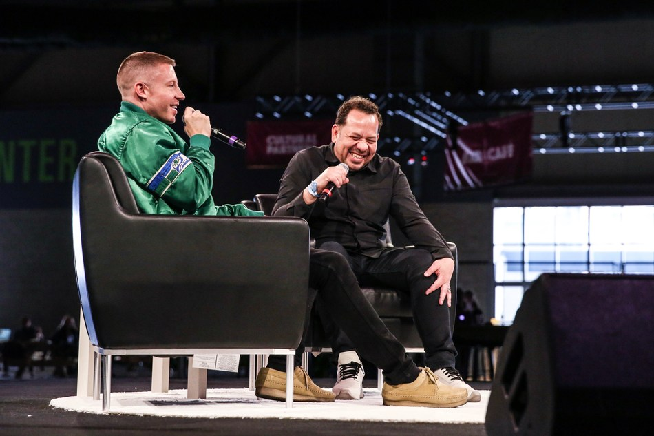 Macklemore shares personal stories during his keynote address at the Summit of the inaugural Upstream Music Fest + Summit in Seattle on May 13, 2017. Photo credit: Sunny Martini | Visit www.UpstreamMusicFest.com for more information.