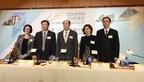 Le 22 mars, M. Yang Guoqiang, président de Country Garden (au milieu), le président Mo Bin (deuxième à partir de la gauche) et les membres de l'équipe de gestion de la société ont publié les résultats de l'exercice 2016 à Hong Kong