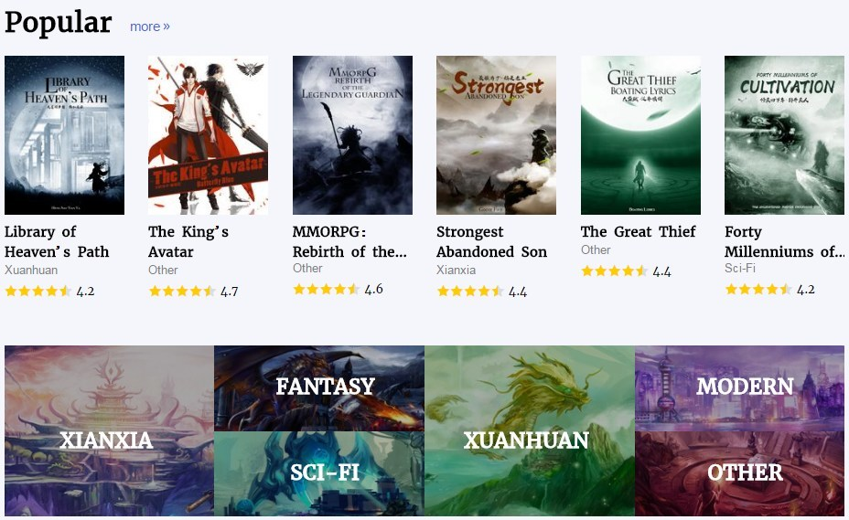 Popular Work Column on the Homepage of Qidian International