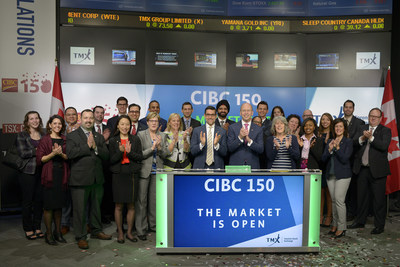 Victor Dodig, President and CEO, CIBC (CM), joined Nick Thadaney, President and CEO, Global Equity Capital Markets, TMX Group, to open the market and celebrate 150 years as an organization. CIBC is a Canadian-based financial institution with 11 million individual, small business, commercial, corporate and institutional clients in Canada, the U.S. and around the world. To celebrate its 150 years of shared history with Canada, CIBC is partnering with many organizations in 2017 to help ignite national pride in the lead up to and during Canada Day in communities across the country. CIBC commenced trading on Toronto Stock Exchange on June 2, 1961. (CNW Group/TMX Group Limited)