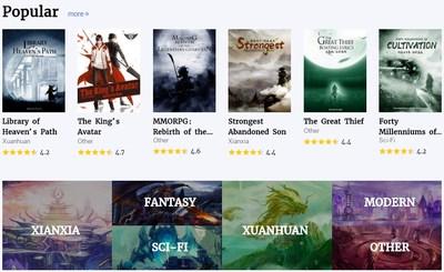Chronique d'ouvrages en vogue sur la page d'accueil de Qidian International (PRNewsfoto/China Reading Limited)