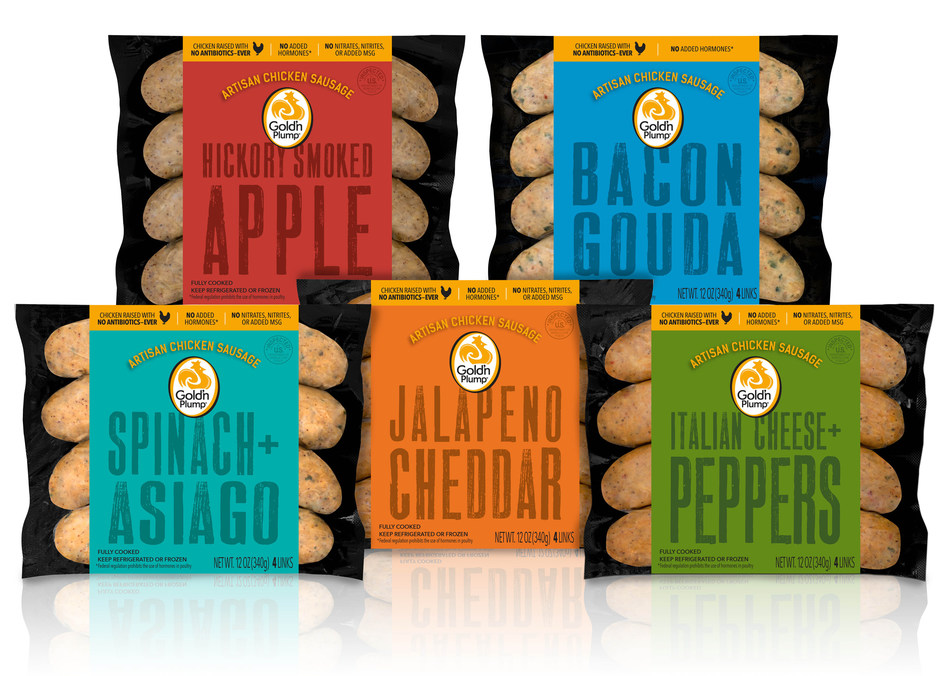 Gold'n Plump launches line of artisan chicken sausages in time for backyard grill-outs in Bacon Gouda, Hickory Smoked Apple, Jalapeno Cheddar, and Spinach & Asiago flavors