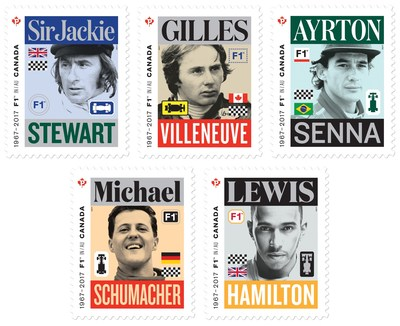 Canada Post's Formula One stamps honour five legends who together have won 17 FORMULA 1 GRAND PRIX DU CANADA races (CNW Group/Canada Post)