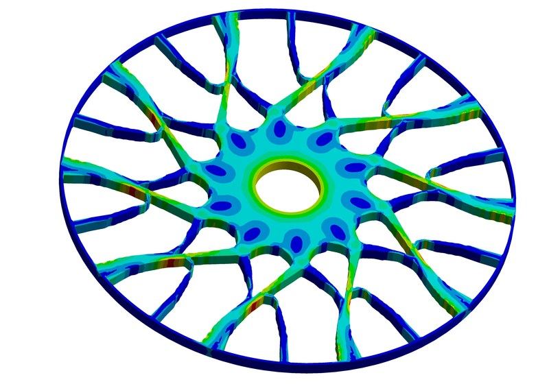 Topology optimized wheel using new cyclic symmetry capability in ANSYS Mechanical 18.1