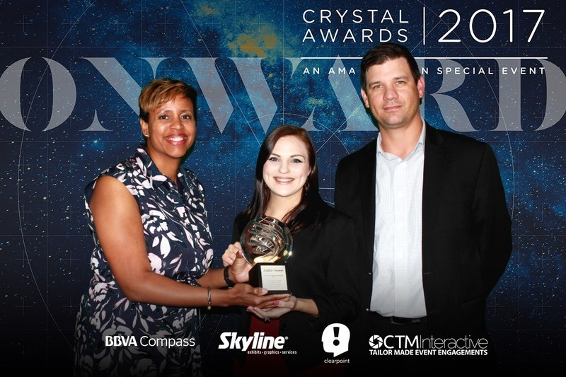 GSM wins at AMA Crystal Awards for Standard Paid Display Advertising. Pictured from left to right for GSM - NaKedra Campbell, Sr. Product Manager of Digital Marketing Solutions, Devyn Pels, Marketing Specialist, and Ian Favre, Sr. Manager of Digital Marketing Operations.