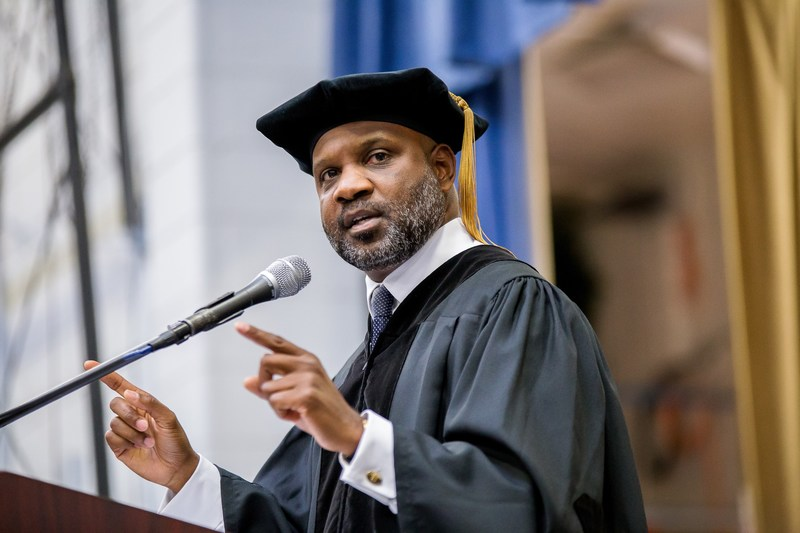 Lamell McMorris, CEO of Perennial Strategy Group and Perennial Sports, and founding principal of Greenlining Realty USA, delivers the commencement address at Saint Augustine's University on May 13, 2017 in Raleigh, N.C.