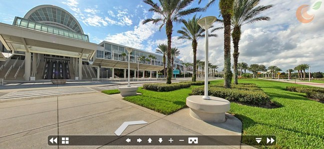 Florida's Orange County Convention Center, viewed through a 360-Degree, Navigable Pano Image Displayed in the atlas3D Interactive Map Platform