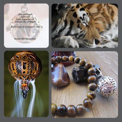 Crouching tiger eye man's aromatherapy bracelet will appeal to the masculine side of anyone, man or women. Coupling the focus of tiger-eye, the peace of the mantra OM, and a scent of your choosing will honor the masculine side and strengthen your resolve to be mindful.