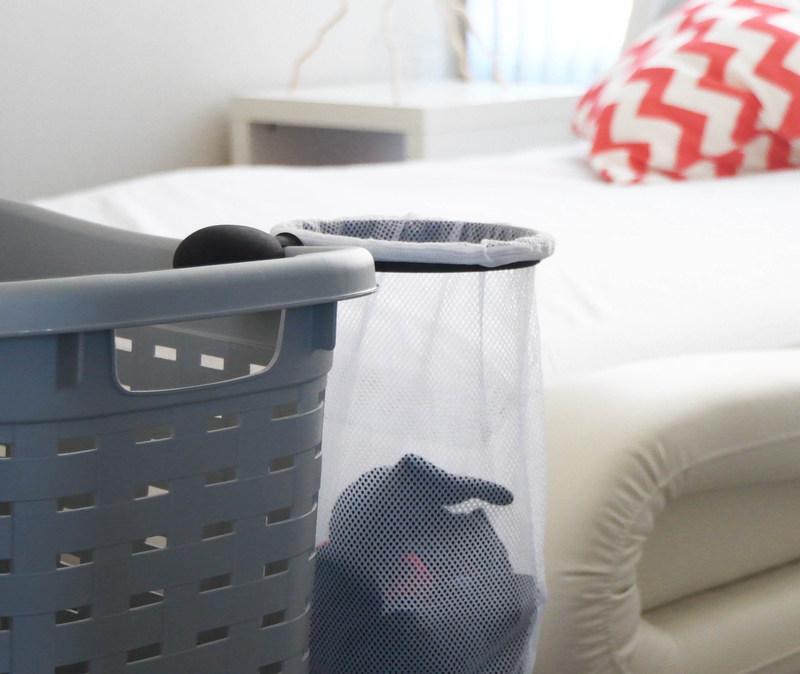 Hampette attached to hamper in bedroom