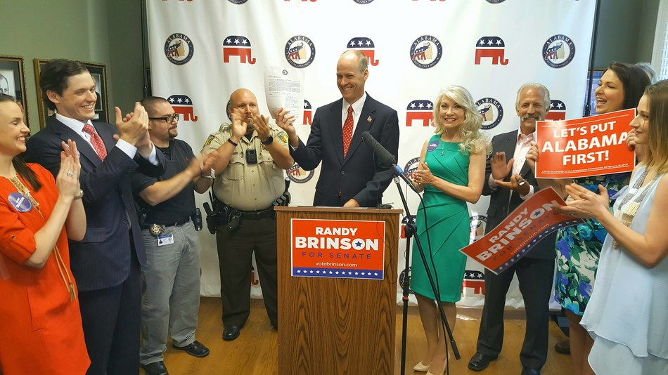Montgomery businessman and physician, Randy Brinson, announces candidacy for the U.S. Senate seat previously held by U.S. Attorney General Jeff Sessions at the Alabama Republican Party Headquarters.