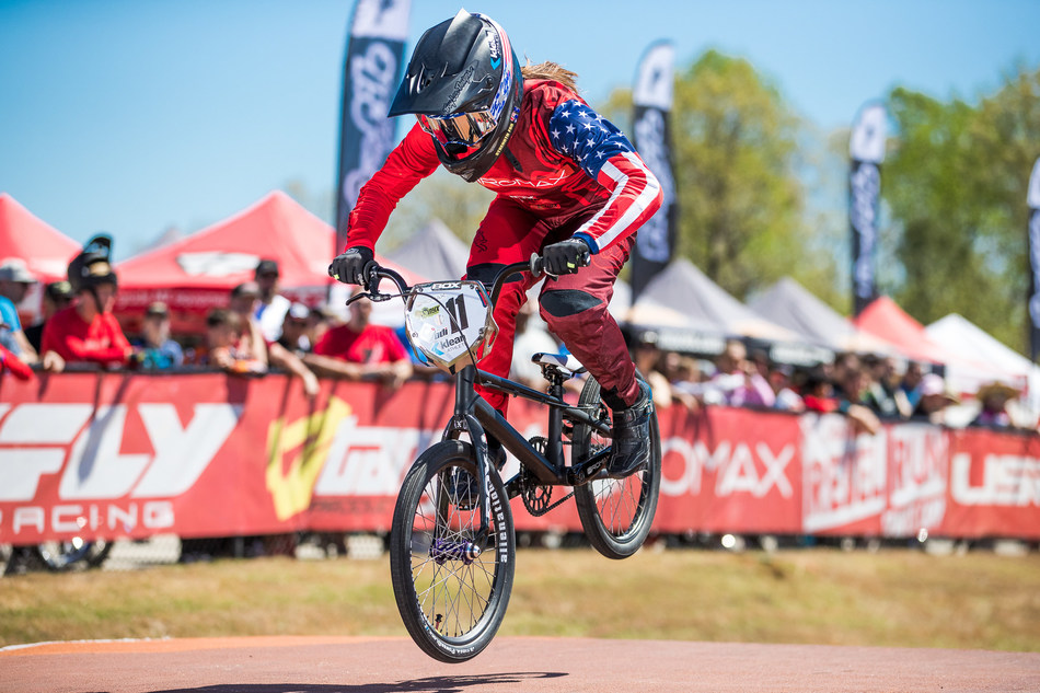 BMX Pro and Klean Team Athlete Alise Post racing shortly after receiving her seventh consecutive USA Cycling® BMX National Champion title