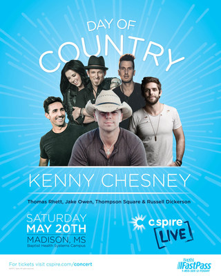 Country music superstar Kenny Chesney is the headliner for an epic outdoor concert this weekend (Saturday, May 20) in Madison, Mississippi. Joining Chesney and performing on stage at the C Spire LIVE Day of Country will be Thomas Rhett, Jake Owen, Thompson Square and Russell Dickerson. For tickets and times, go to cspire.com/concert.