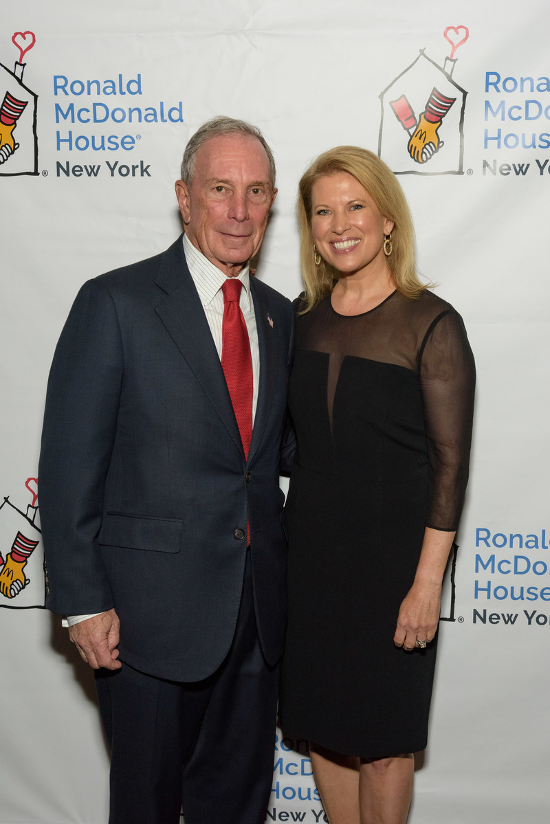 Three-term Mayor of New York City and Founder of Bloomberg LP and Bloomberg Philanthropies, Michael R. Bloomberg with Chairman of the Board of Ronald McDonald House, Tina Lundgren at the 25th annual Ronald McDonald House of NY Gala.