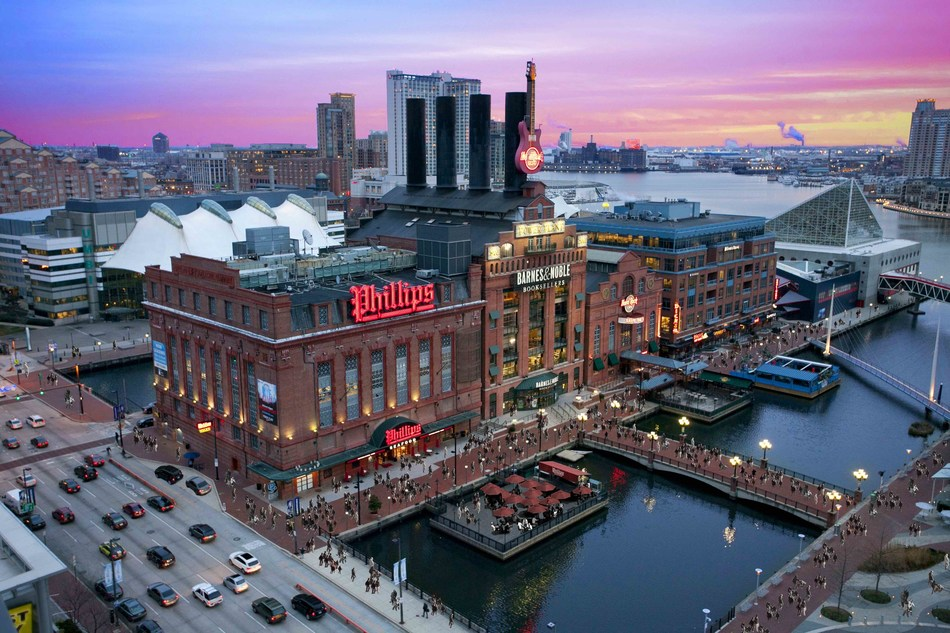Pratt Street's Power Plant, the second most attended tourist destination in Baltimore, is a mixed-use project in the heart of Baltimore's World Famous Inner Harbor that features the Hard Rock Café, Barnes and Noble and Maryland's famed Phillips Seafood, along with spectacular loft offices and the headquarters of The Cordish Companies.
