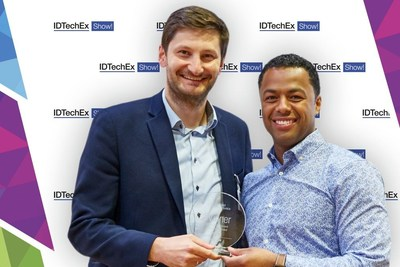 Filip Granek, CEO at XTPL SA (from the left) with Development Manufacturing Award (photo owner: IDTechEx) (PRNewsfoto/XTPL)