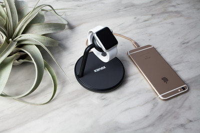 This premium magnetic charging stand for Apple Watch and iPhone comes integrated with the same inductive charging connector that comes with Apple Watch and can charge both the 38mm and 42mm models. An additional USB port on the back can charge your iPhone, iPad or any other device simultaneously.