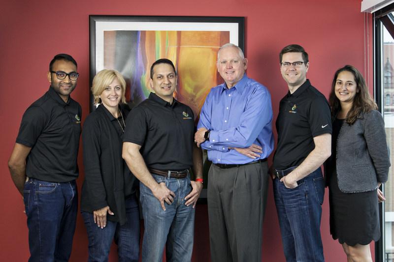 From left; Jatin Patel, Barbara Sluder, Dr. Yousuf Ahmad, CEO, AssureCare, Ken Page, CEO, Centerprise, Steve Joos, Shannon Nielson
