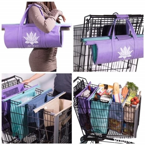 Now available at Amazon.com, the new patent-pending, eco-friendly Lotus Trolley Bag, offers a shopping bag system that boasts four large bags and was designed to help shoppers easily organize and efficiently pack their groceries in a fraction of the time. The Lotus Trolley Bag system is reusable with durable, washable bags that easily spread out, accordion-style, in a grocery shopping cart.