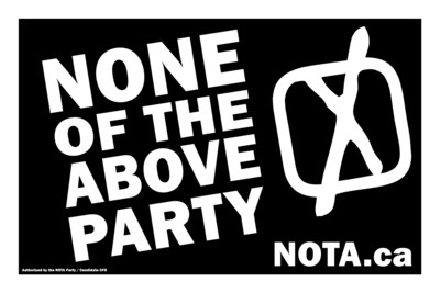 None of the Above Party and NOTA.ca (CNW Group/None of the Above Party of Ontario (NOTA))