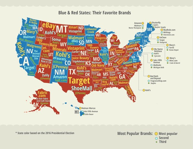 Most popular brands in Red and Blue states