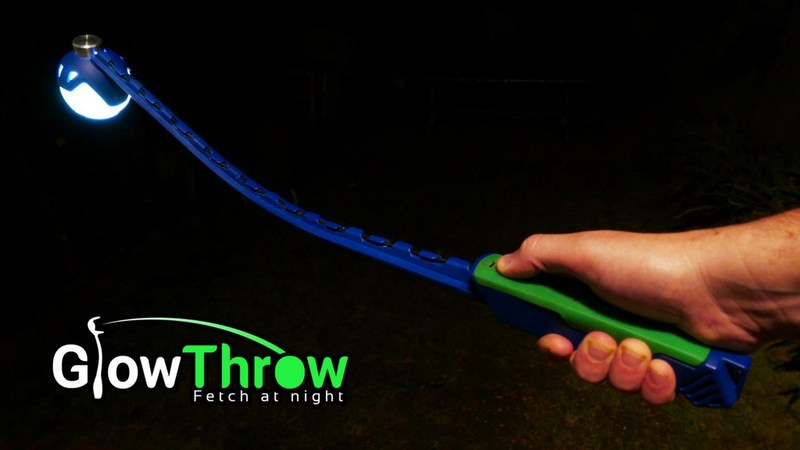 The GlowThrow - Fetch at Night LED powered glow in the dark ball launcher for your dog