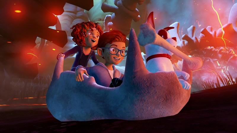 """Twins Amy and Jonas just found a dog - or did he find them? Either way, Rukus has a magical secret – he's about to take them to a whole new world. Equal parts thrilling, breathtaking, and inspiring, """"Raising a Rukus"""" is a first of its kind animated VR experience for families from the Academy Award winner Robert Stromberg and The Virtual Reality Company."""