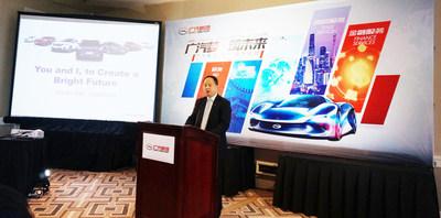 Gerente geral da GAC Motor, Yu Jun, em evento de recrutamento