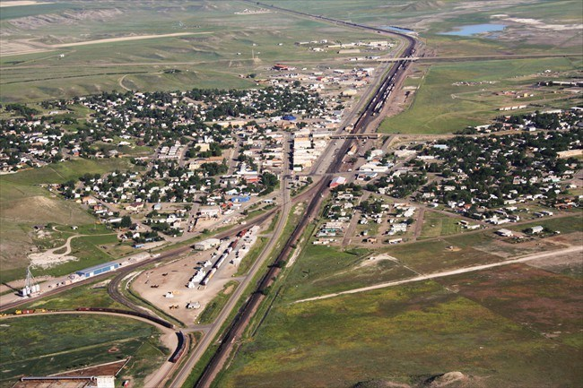 Aerial View of Shelby, Montana
