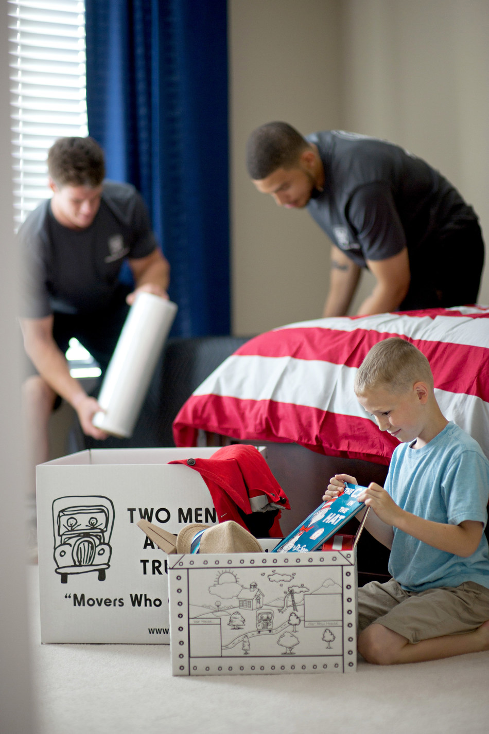 TWO MEN AND A TRUCK provides packing and moving services for residential and business customers.