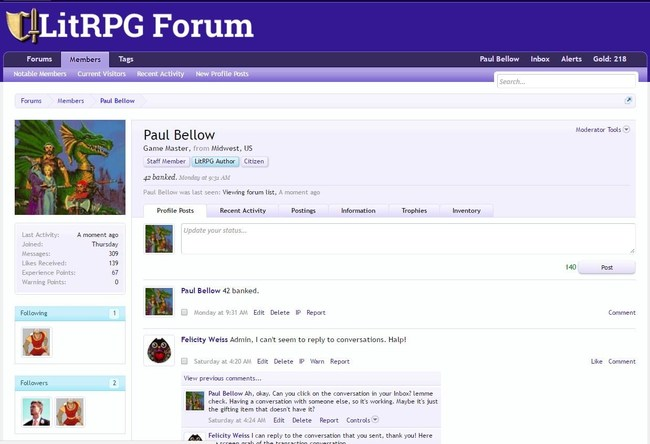 The author profile of Paul Bellow, administrator of the new LitRPG Forum.