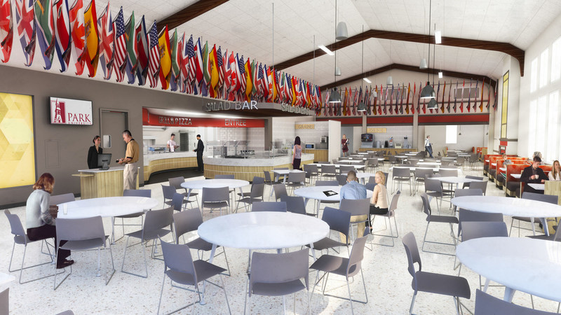 Thompson Commons at Park University in Parkville, MO, is being dramatically expanded with all-new food service amenities.