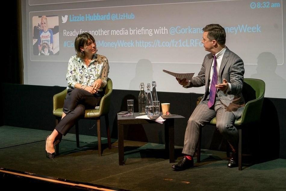 MoneyWeek's editor-in-chief, Merryn Somerset Webb, with Gorkana's head of news and content, Philip Smith. (PRNewsfoto/Gorkana)
