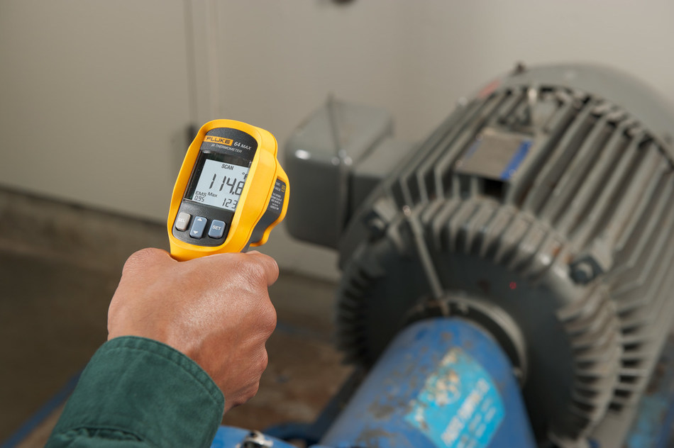 The new Fluke 64 MAX IR Thermometer features Auto Capture allowing technicians to set time and intervals to record up to 99 data points unattended so it can capture elusive temperature events. The thermometer can be mounted on a standard tripod using a tripod mount accessory for unattended measurements.