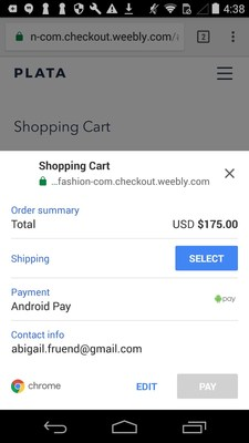 Android Pay option on Weebly online store checkout.